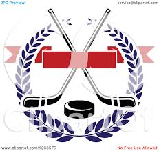 clipart of a black and white crossed hockey sticks and puck in a