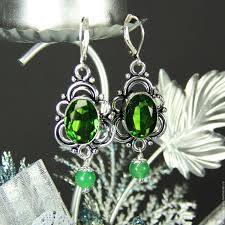buy earrings with peridot and jade mood on livemaster
