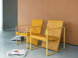 contemporary armchair fabric leather steel spine by