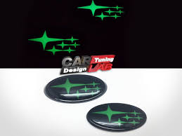 wrx subaru logo front u0026 rear green stars glowing glow badge emblem for 2015 up