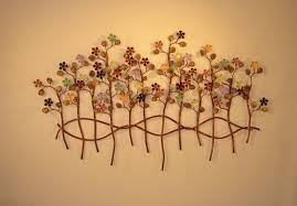 botanical wall art metal sculpture metal decor garden of eden metal wall decor with colorfull flowers