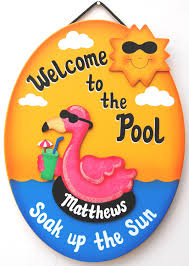personalized outdoor pool sign welcome to the pool flamingo