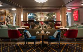 restaurant in oslo with jazzy vibe and mid century lighting