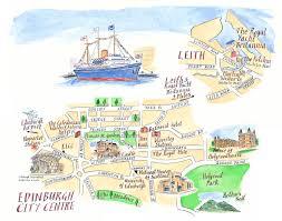 Edinburgh Map Royal Yacht Britannia Location Map Of Leith And Edinburgh