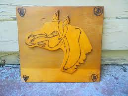Equine Home Decor by Vintage Wooden Horse Western Wood Horse Home Decor Wall Hanging