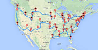trip map a map of the optimal united states road trip that hits landmarks