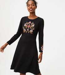 floral embroidered flare dress loft