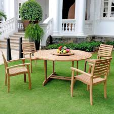 Round Garden Table With Lazy Susan by Royal Collection By Hiteak Furniture Teak 4 Person Patio Dining