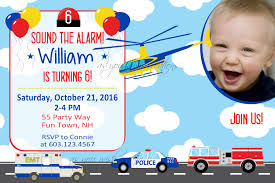 emergency vehicles birthday invitation police party invitation