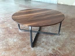 38 round coffee table solid walnut flatiron coffee table on steel base boulder