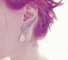 angel wings earrings nickel free jewelry grey