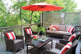 Target Offset Patio Umbrella by Luxury Patio Deck Decoration With Brown Resin Wicker Chair Target