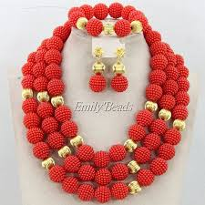african wedding bead necklace images Elegant champagne gold nigerian african wedding beads jewelry set jpg