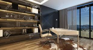 eclairage de bureau intérieur élégant de bureau à domicile avec un bureau moderne