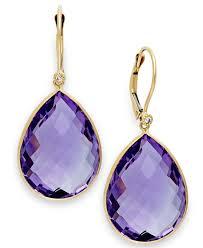 14k gold large diamond amethyst macy u0027s pink amethyst 36 1 2 ct t w and diamond accent earrings