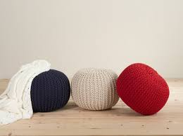 chic twisted pouf knitted cotton round ottoman