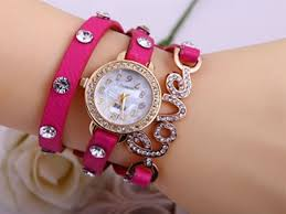 leather bracelet girl images Women 39 s watches pink fashion women girl love cz dial wrap around JPG