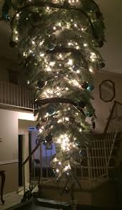upside down christmas tree hanging from our vaulted ceiling over