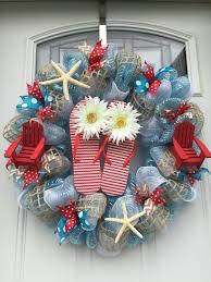 mesh wreaths summer theme blue and flip flop deco mesh wreath diy