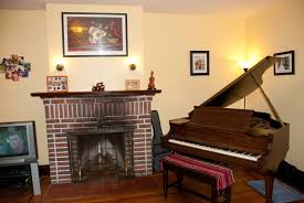 and piano in the living room