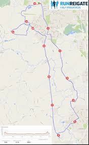 Map Run Route by Reigate U0027s Half Marathon And 10k Intersport Run Reigate