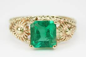 vintage emerald engagement rings 2 20ct vintage emerald solitaire ring 14k yellow gold j r jewels
