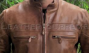 Cowhide Leather Vest Mens Retro Brown Top Grain Cowhide Cafe U0027 Racer Leather Jacket Item