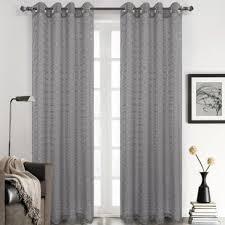 Grey Plaid Curtains Check Plaid Gray And Silver Curtains Drapes You Ll Wayfair