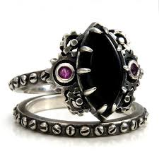 steunk engagement ring steunk engagement ring set marquise onyx cabochon with pink