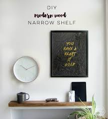 diy thin modern wood shelf with partial ledge lemon thistle