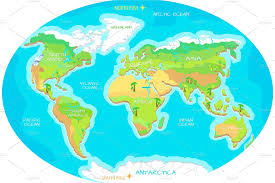 North Pole Map Continents Oceans On Map Of World Our Planet Illustrations