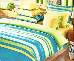 custom queen size ocean blue turquoise lime green yellow striped