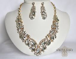 earrings statement necklace images Gold bridal necklace wedding jewelry set crystal bridal jpg