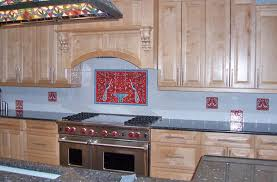 red backsplash tile perfect 12 nancy u0027s hand painted red kitchen