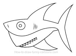 easy outlines of animals a shark cartoon