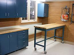 tips garage workbench ideas with grey metal storage