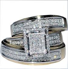 wedding ring sets his and hers white gold cheap discount wedding ring review solid 14k white gold bridal set
