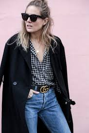 gucci black friday black coat gingham shirt straight blue jeans u0026 gucci belt lucy