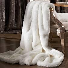 Fake Fur Throws Furniture Elegant Cozzy White Faux Fur Throws