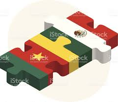 Flags In Kamerun Und Mexiko Flags In Puzzle Vektor Illustration 496196241