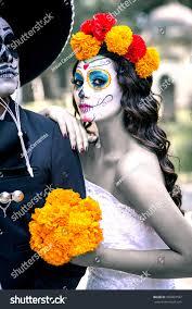 beautiful mexican woman wedding dress makeup stock photo 506803597