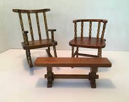 Old Wooden Table And Chairs Miniature Furniture Etsy