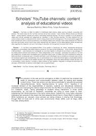 scholars u0027 youtube channels content analysis of educational videos