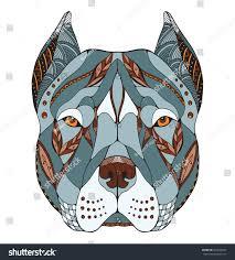pitbull halloween background pit bull terrier head zentangle stylized stock vector 363693827