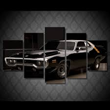home decoration 5 piece wall pictures for living room black car