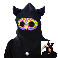day of the dead see thru sugar skull owl hood halloween costume