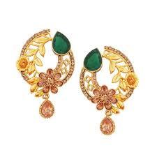 peacock design earrings in gold gold plated floral design shape earring women designer