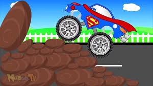 monster trucks races cartoon cars monster street vehicles trucks bus train cars and tractors for
