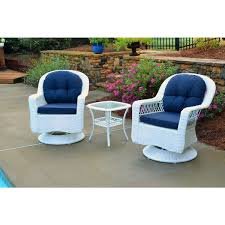 White Wicker Outdoor Patio Furniture Biloxi Outdoor White Resin Wicker 3 Swivel Glider Set With