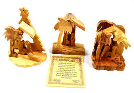 olive wood nativity ornaments set of 3 from israel